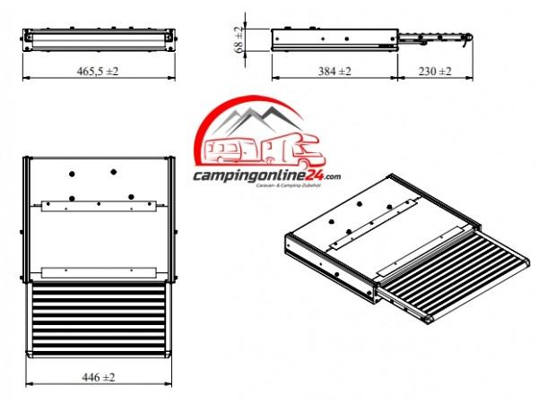 Elektrische Trittstufe 12V 450 Komplett mit Montage-Set