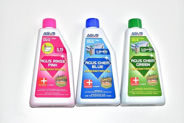 AGUS CHEM SET-PINK BLUE GREEN-KONZENTRAT Sanitärflüssigkeit