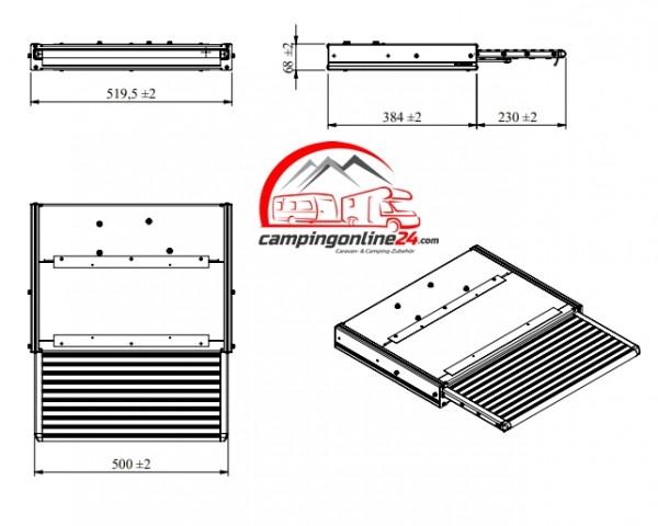 Elektrische Trittstufe 12V 500 Komplett mit Montage-Set