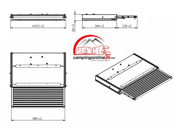 Elektrische Trittstufe 12V 600 Komplett mit Montage-Set