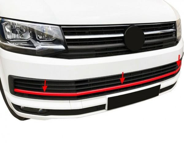 Frontleiste VW T6 2015-2021 Stoßstangen Blende Rot Edelstahl 3 Teilig